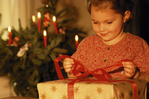 Child opening gift